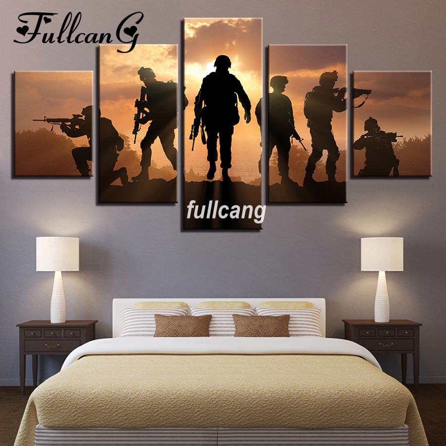 FULLCANG Diy Full Square Diamond Embroidery American Soldiers 5D Diamond Painting Cross Stitch 5PCS Mosaic Needlework D678 in Diamond Painting Cross Stitch from Home Garden