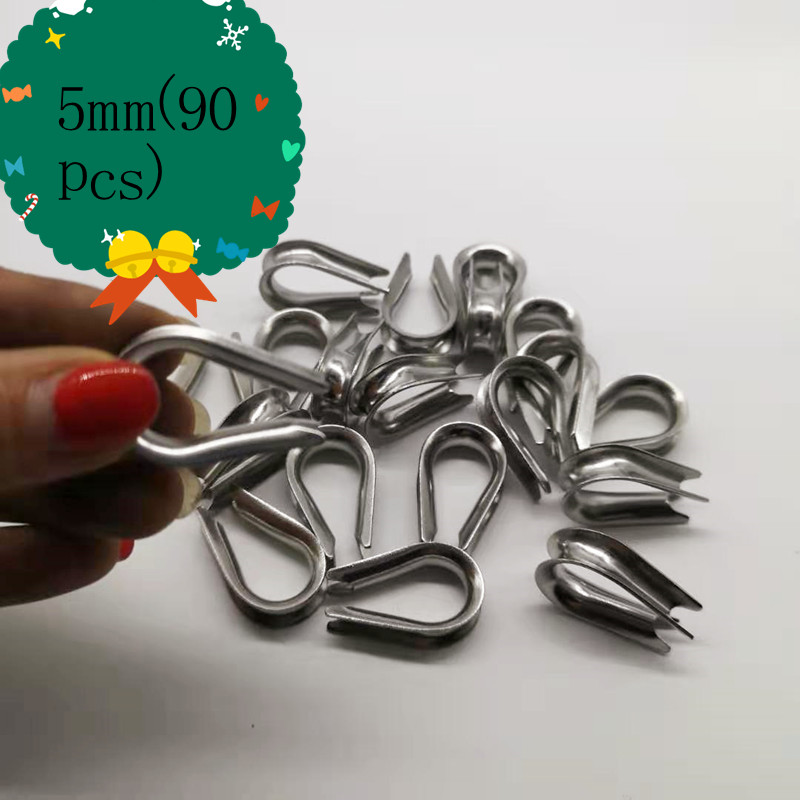 90pcs  304 Stainless Steel Thimble For 5mm Wire Rope