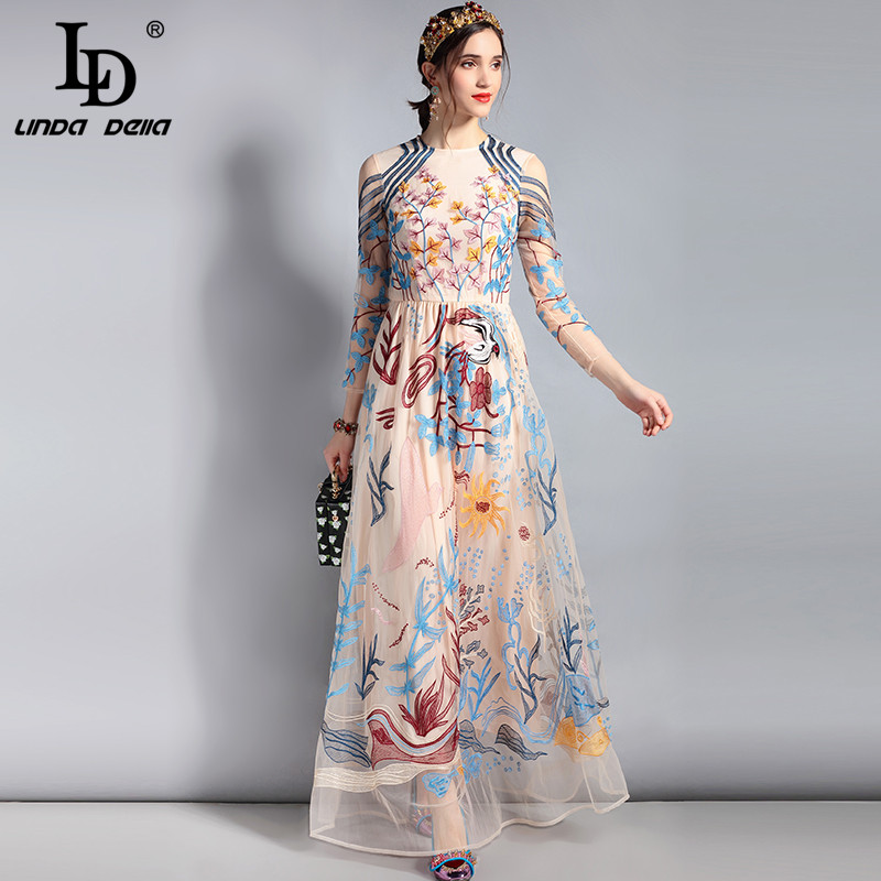 LD LINDA DELLA Designer Maxi Dress Womens Long sleeve Lace Tulle Mesh Floral Embroidery Long Dress Floor Length Party Dress
