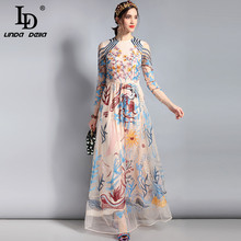 a0d17282538ed Buy floral embroidery tulle lace dress long and get free shipping on ...
