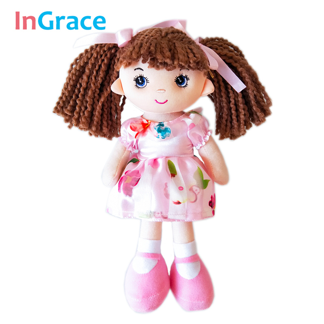 InGrace/Новая мода для девочек, первая кукла, пряжа, коричневые волосы, 25 см, мини-кукла для маленьких девочек с розовым цветком, платье, подарок, игрушка, Рождественский Декор
