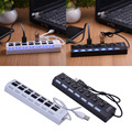 High Speed Micro USB hub 40cm 7 Port USB Hub 2.0 Power Adapter Cable Splitter For PC Laptop Sharing With Power On/Off Switch