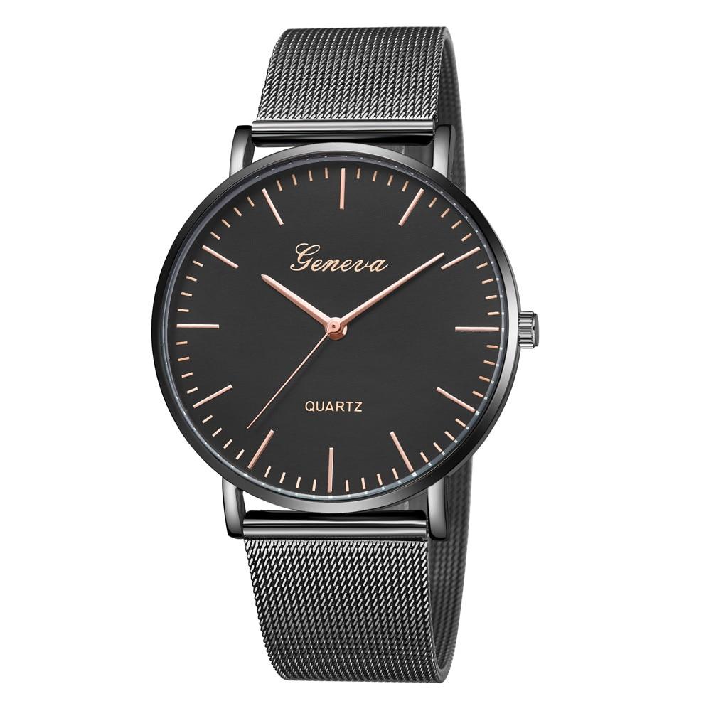 купить Fashion Casual Quartz watches Thin Rose Gold Womens Men GENEVA Womens Classic Quartz Stainless Steel Wrist Watch Bracelet Watch по цене 89.76 рублей
