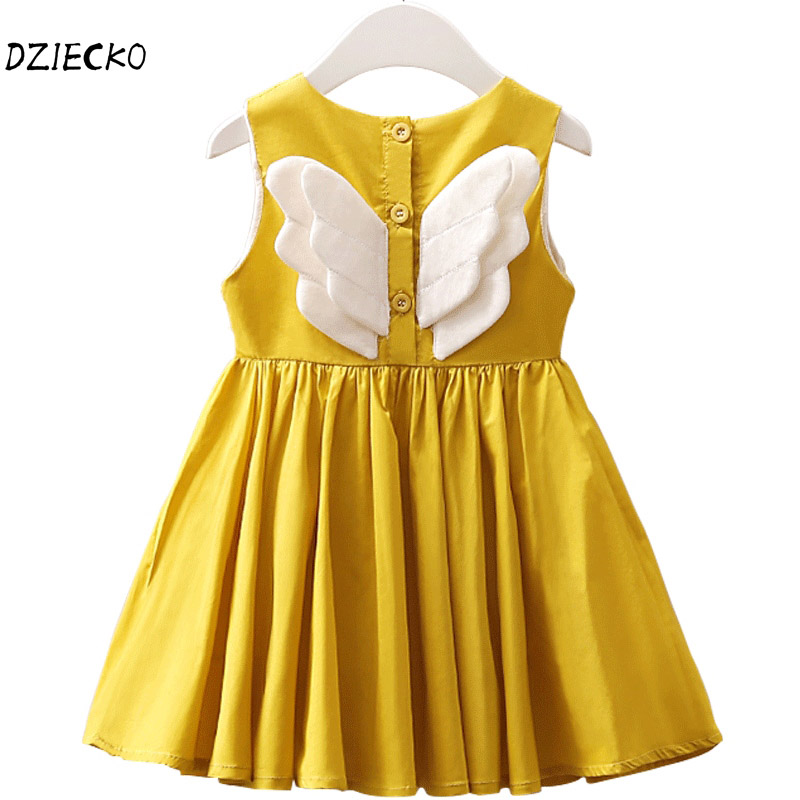 DZIECKO Baby Girls Dress Angel Wings Summer Clothes 2018 Brand Cotton Princess Girls Clothing Costume Kids Party Dresses