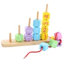 Kids Wooden Balancing Blocks Multifunctional Beading Balance Blocks Baby Montessori Early Training Beads Blocks Toys Wood gift недорого