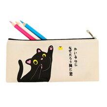 1PCS Simple Cat Pencil Case Creative  Canvas Pencil Bag School Supplies Cartoon Stationery zipper Pencils Box Students Gifts