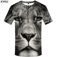 KYKU Lion T shirt Animal Mens Clothing Funny Tshirt Plus Size 3d T-shirt Clothes Men Short Sleeve Big High Quality