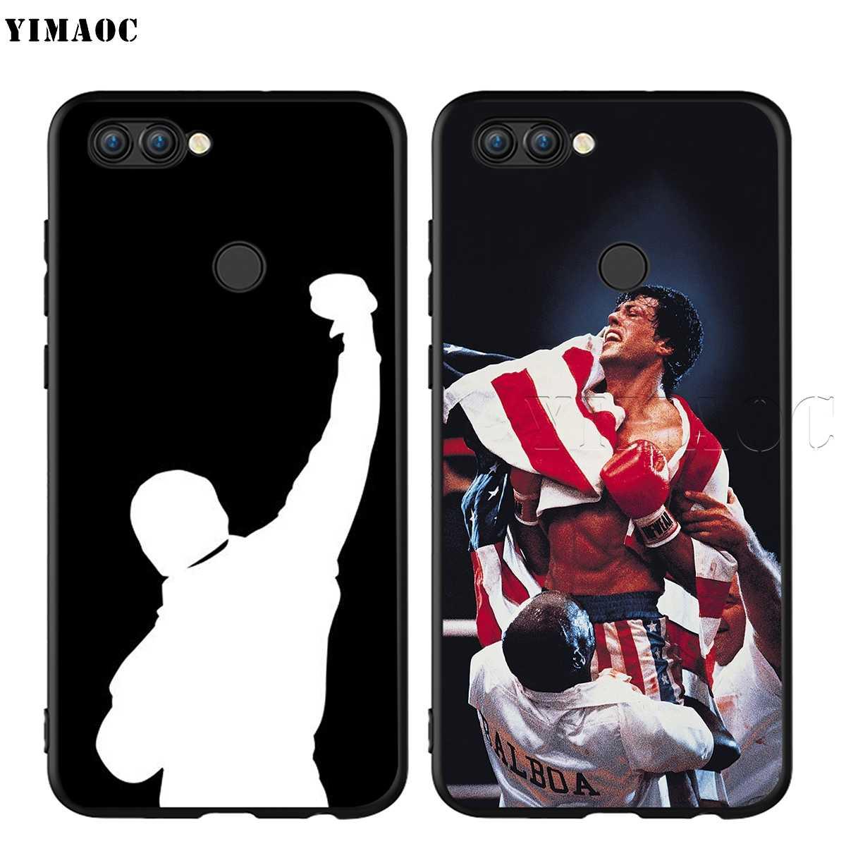 Yimaoc rocky balboa silicone caso para huawei companheiro 10 p8 p9 p10 p20 lite pro p y7 y9 inteligente mini 2017 2018