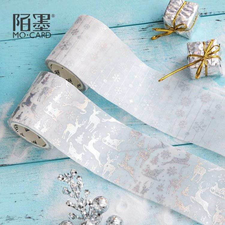 Creative Laser Silver Christmas Deer Gilding Washi Tape Adhesive Tape DIY Scrapbooking Sticker Label Masking Tape