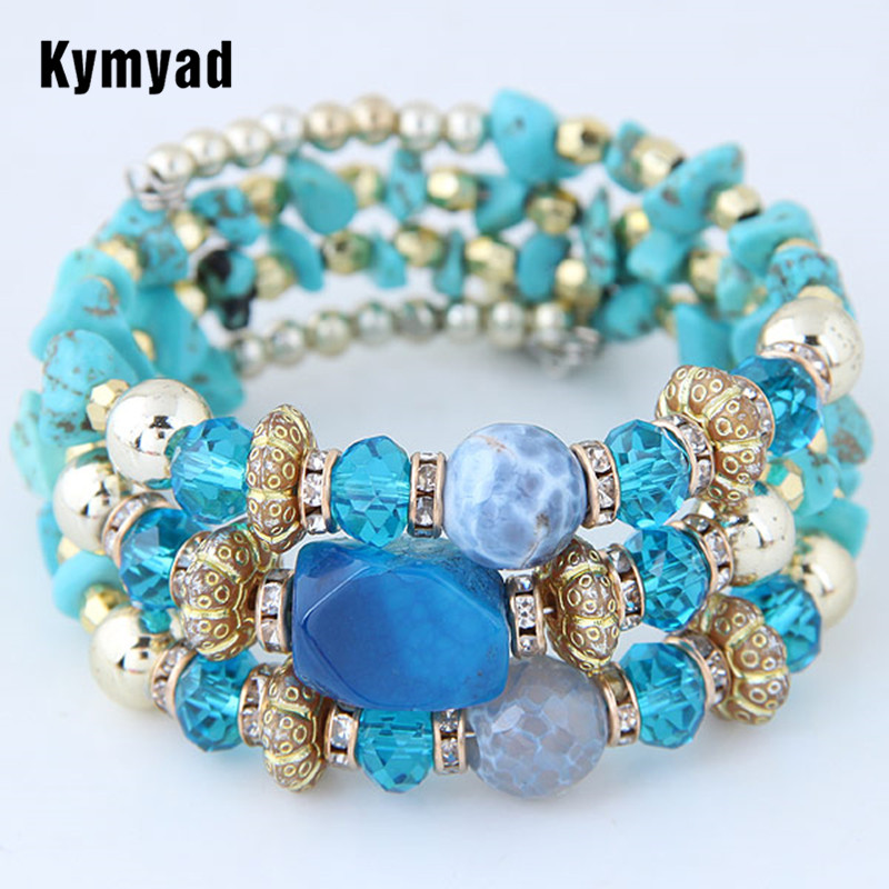 Kymyad Bohemian Bracelets for Women Resin Stone Crystal Bracelets & Bangles Bijoux Charm Pulseira Masculina Multilayer Bracelet