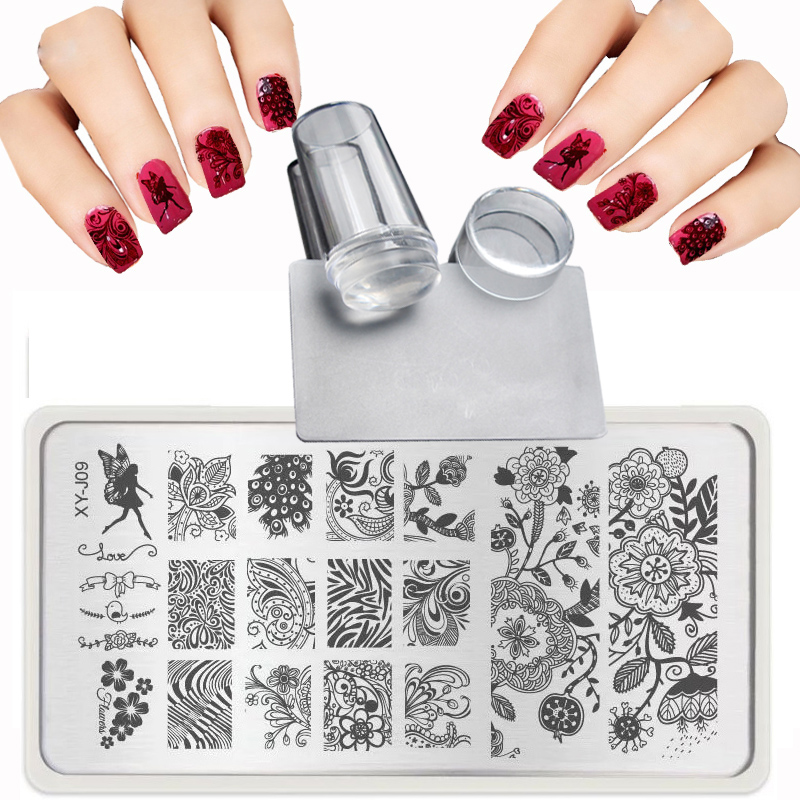 XY J 2017 Lace Flowers Patterns for Nail Art Templates Steel plate Transparent stamp nail stamping plates Sets Kits Scraper