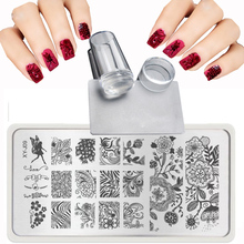 XY-J 2017 Lace Flowers Patterns for Nail Art Templates Steel plate Transparent stamp + nail stamping plates Sets Kits + Scraper