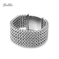 30mm*22cm Silver color Buddha Bracelet 316L Stainless Steel Five Times Foxtail Box Link Bracelet Mens Boys Jewelry with Logo