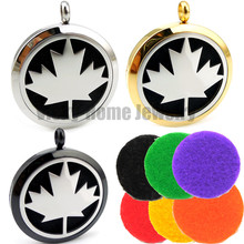 With chain gift Canada Maple Leaf (30mm) Essential Oils Locket 316 Stainless Steel Perfume Diffuser Locket Aroma Locket(China)