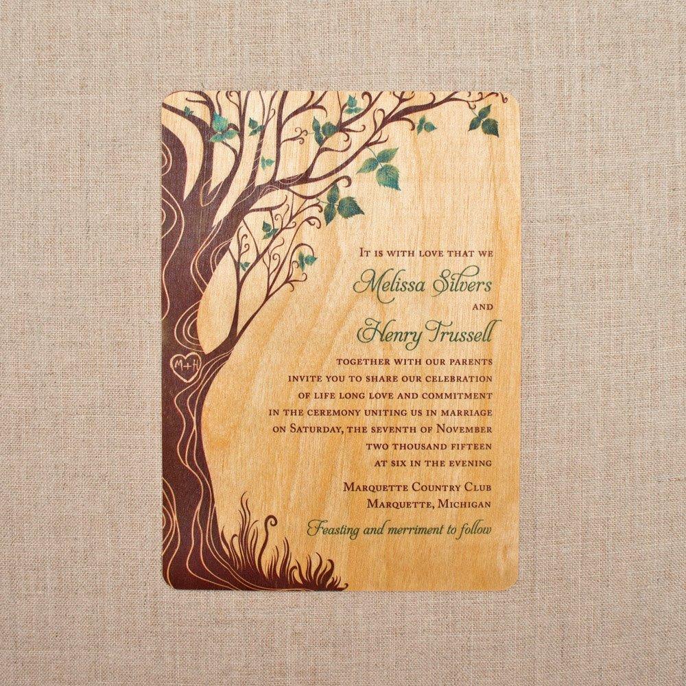 Laser Cut Tree Wedding Invitations: Green Curly Tree Vertical Wedding Invitation, Rustic