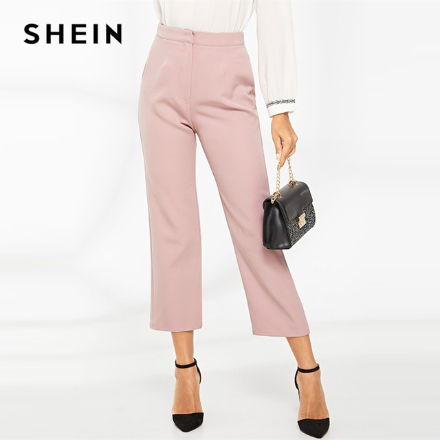 5c1690f788 SHEIN Pink Cropped Solid Tailored Straight Leg Zipper FlyPants 2019 Spring  Women Modern Lady Elegant Spring