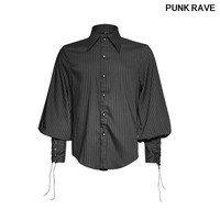 Steampunk loose full sleeve striped men shirt fashion noble party Tie the rope cuff blouse Punk Rave Y 719