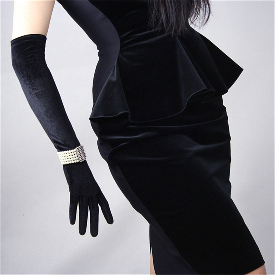 Fashion Black Velvet Gloves 50cm Long Section Over Elbow High Elastic Black Swan Female Touch Screen Gloves RHS50