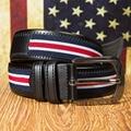 Casual Fashion Men's PU & Canvas Patchwork Belts High Quality Pin Buckle Belt For Men's Jeans Belts Size 36 Belt Width 3.8CM