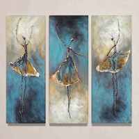 Hand Painted Abstract Figure Oil Paintings on Canvas 3 Panel Pictures Women Ballet Dancers Painting Sets Modern Wall Decor Arts