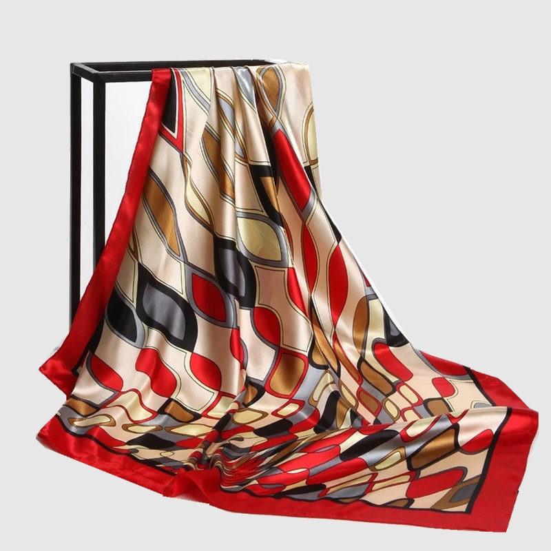 Colors Plaid Print Large Square Scarves Brand Wraps Shawls New Female Elegant Silk Scarf Fashion Ladies Accessories 90*90cm