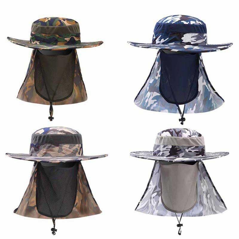 cdbaa475fd534 2017 Fishing Caps Boating Hiking Army Military Snap Brim Ear Neck ...
