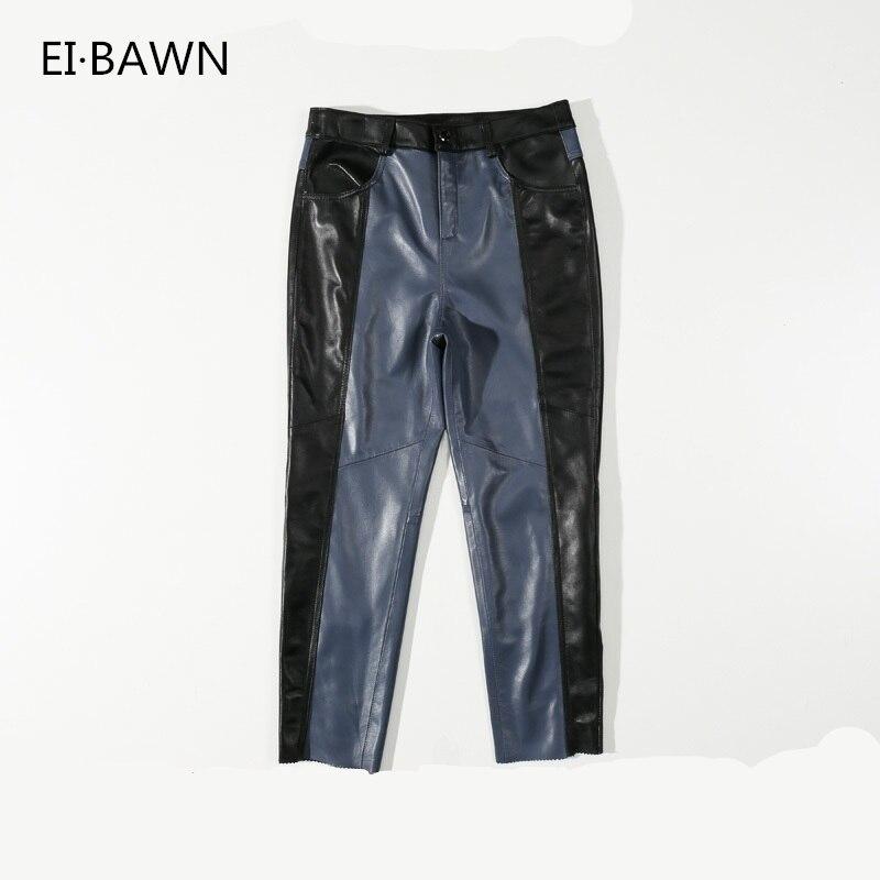 Véritable Pantalon En Cuir Femmes Pantalon Noir Femmes Vêtements Street Style En Cuir Pantalon Taille Plus le Pantalon Occasionnel Coréen De Mode