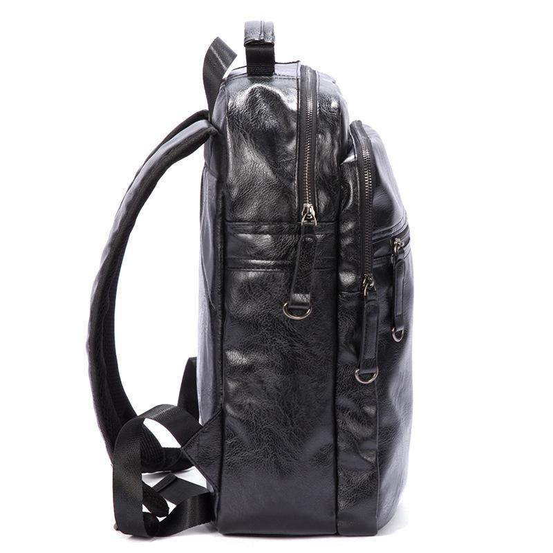 Simple Large Capacity Mens Pu Leather Backpack For Travel Casual Men Daypacks Leather Travle Backpack Mochila