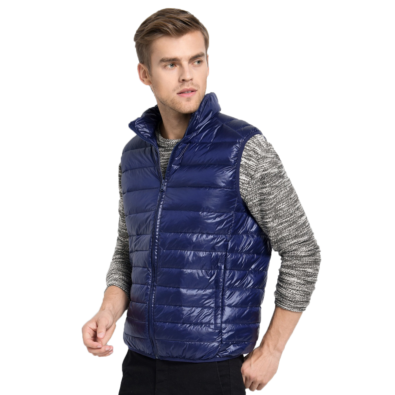 Image 4 - 2019 New Arrival Brand Men Sleeveless Jacket Winter Ultralight White Duck Down Vest Male Slim Vest Mens Windproof Warm Waistcoat-in Vests & Waistcoats from Men's Clothing