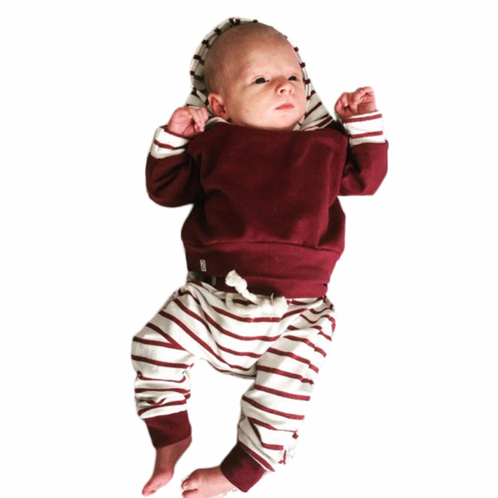 Baby Boys Clothes Set 2017 New  Autumn Newborn Baby Girl Clothing Long Sleeve Hoodie Tops +Pants Hooded Clothes Outfit 2Pcs/Set kids clothes boys set 2017 autumn winter boys clothing set printing long sleeve tops camouflage pant 2pcs tracksuit for girl