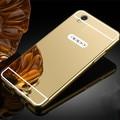 De aluminio de lujo caso de espejo de acrílico para oppo a37 protectora del teléfono móvil de la contraportada para a37
