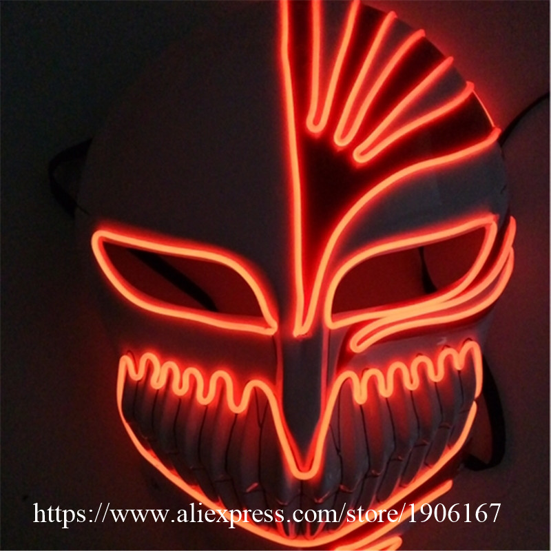 Fashion Colorful EL Wire Flashing Party Mask Luminous Hip-Hop Horror Mask Halloween Death Mask Birthday Novel Gift