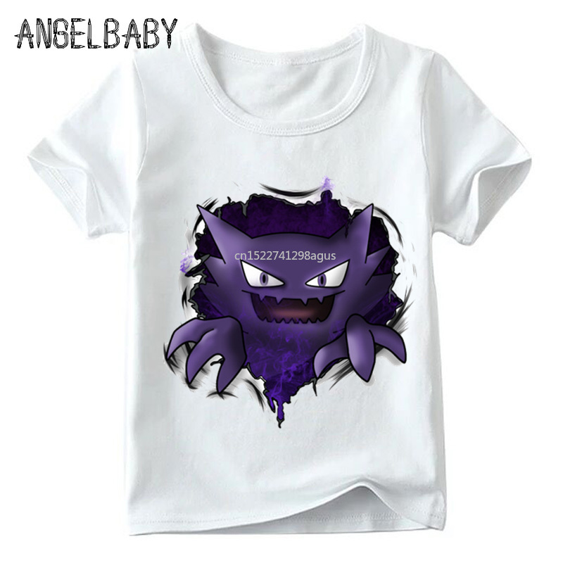 Children Pokemon Go Gengar Design Funny T Shirt Kids Summer Short Sleeve White Tops Boys And Girls Cartoon T-shirt,0005100