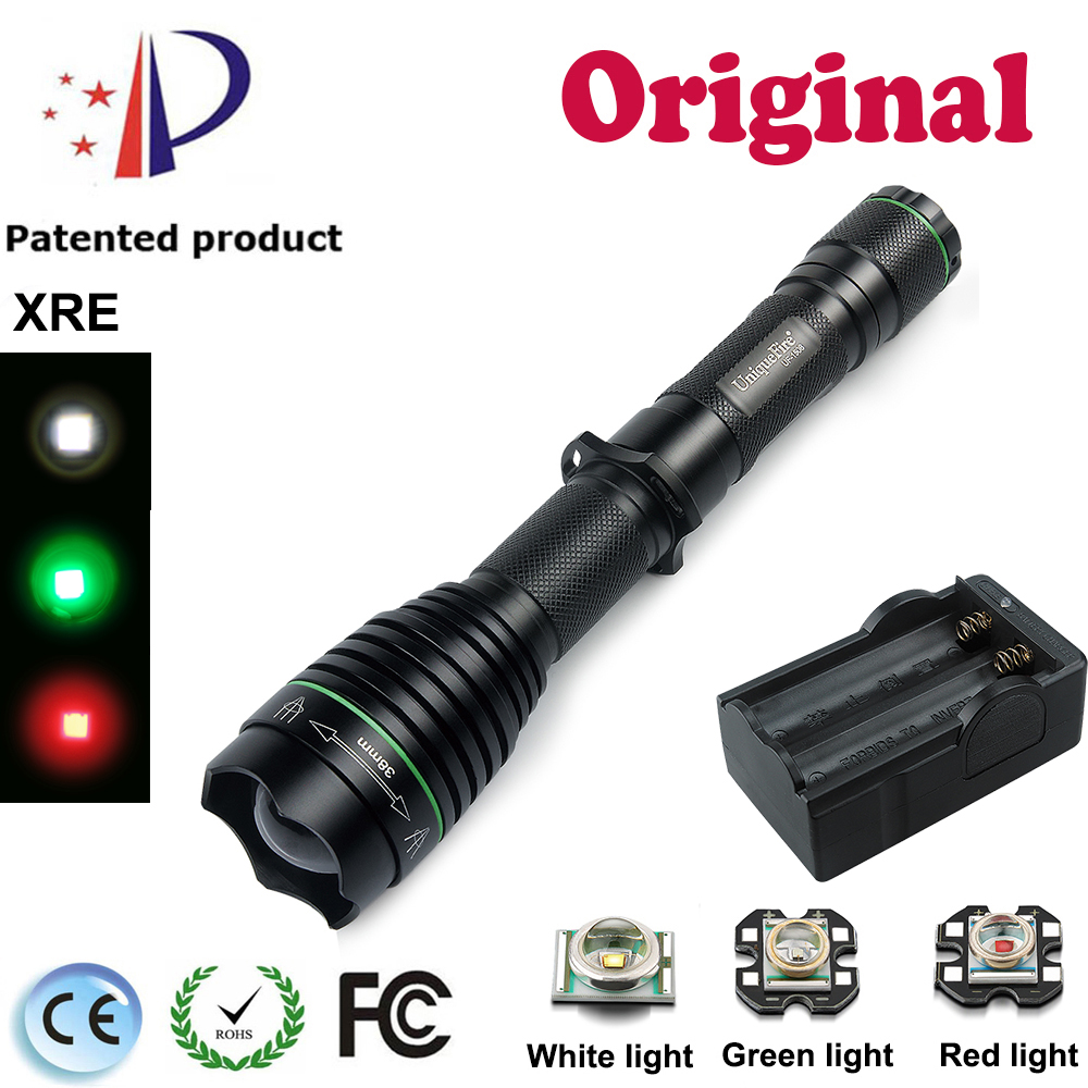 UniqueFire 1508-38 Aluminum Alloy LED Flashlight Cree XPE /XPG/XRE Torch 18650 Zoom Light Lamp+Two Slot Charger For Hunting uniquefire uf 1505 cree xpe xpg mini led flashlight aluminum alloy 3 mode adjustable focus zoom light lamp for home