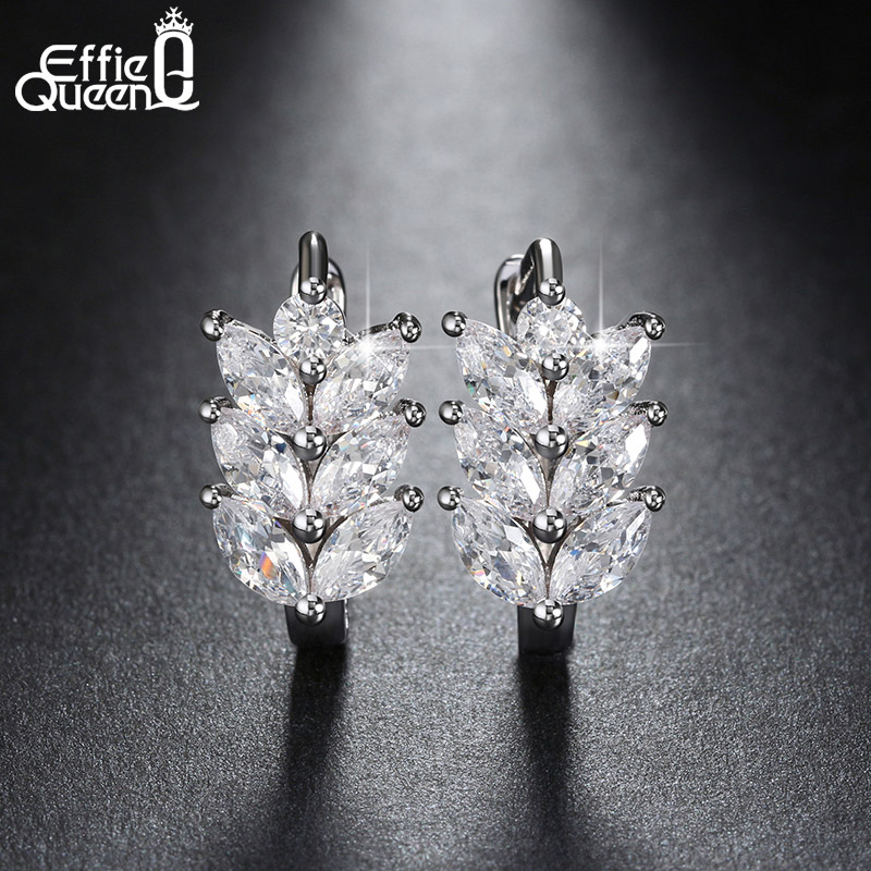 Vintage Leaf Design font b Earring b font with Luxury AAA Marquise Cut Austrian CZ Crystal