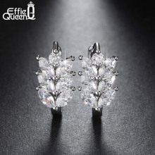 Vintage Leaf Design Earring with Luxury AAA Marquise Cut Austrian CZ Crystal Platinum Plated Earrings for Girls Gift DDE03