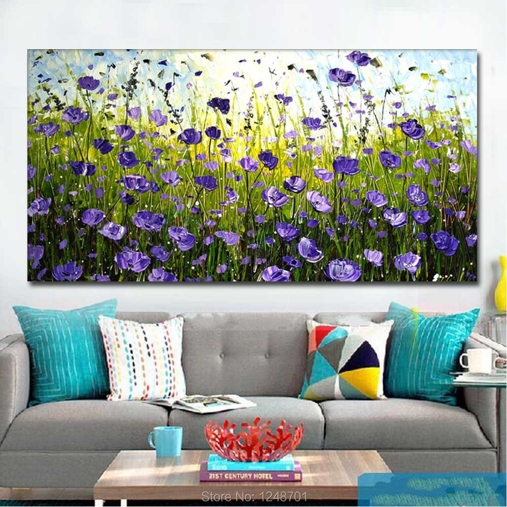 Купить с кэшбэком Large Size Hand Painted Abstract Purple Flower Field Lanscape Oil Painting On Canvas Wall Picture Living Room Bedroom Home Decor