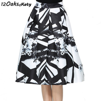 12 OAKS OF KATY Europe And America Women Fashion High Waist Ink Painting Flared Skirt Retro