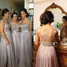 Top Selling Formal Gowns Wedding Party A-Line Bridesmaid Dresses Chiffon 2015 New Short Sleeve W6029 Robe de Soiree Fashionable