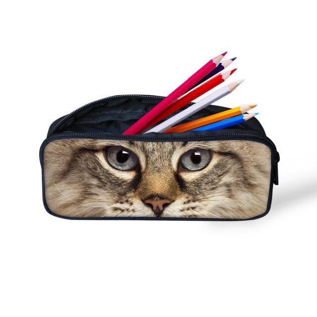 FORUDESIGNS 3D loup Animal enfant mode trousse stylo porte-boîte à crayons pour étudiant fournitures scolaires femme maquillage cosmétique sac