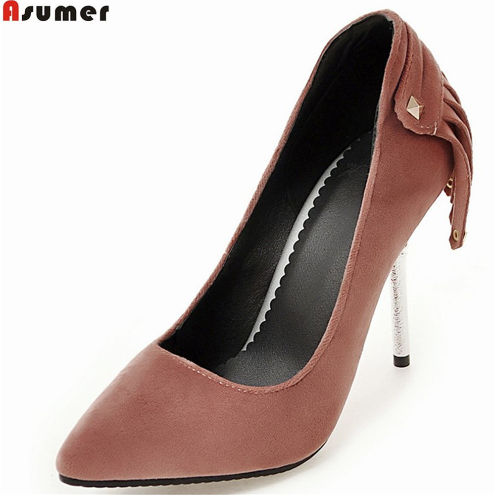 Asumer plus size 33-48 fashion spring autumn women pumps pointed toe ladies single  shoes shallow thin heel prom high heel shoes flock women flats 2017 pointed toe ladies single shoes fashion shallow casual shoes plus size 40 43 small yards 33 sapatos