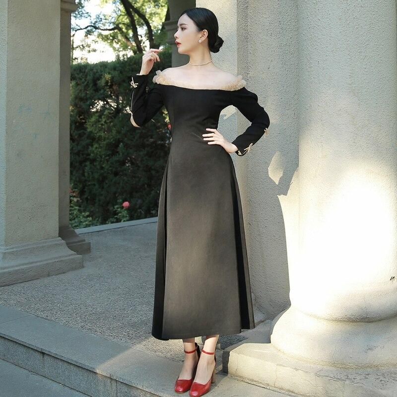 L'épaule Noir Printemps Longues 2019 Cheville Femelle De Vintage longueur Partie Maxi Élégante Longue Robe Femmes F8BOqwU