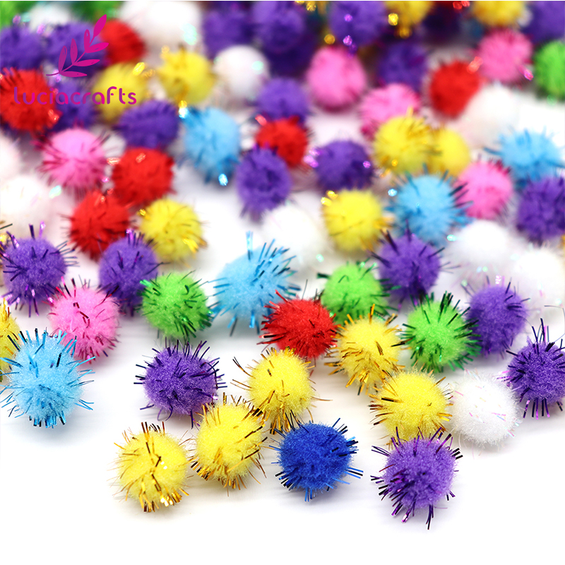 Lucia Crafts 100pcs 15mm Chenille Stems Bendaroos Christmas Plush Ball Pompom Hair Root Diy Children Toys J0604