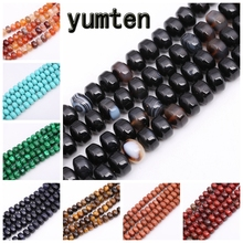 Yumten Round Black Agate Bead 7mm*9mm Natural Cherry Quartz Malachite Rose Beads Jewelry Making Handmade DIY Necklace