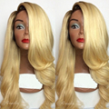 Fashion Natural Long Body wave Blonde Synthetic Lace Front Wig Glueless Ombre Black Blonde Heat Resistant Hair Women Wigs