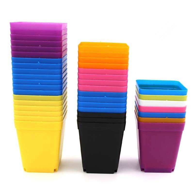 10 Colors Mini Square Plastic Flower Pot for Home Office Desk Garden Decor Flower Pots & Planters     - title=
