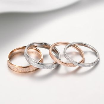 High Quality Fashion Simple Scrub Stainless Steel Women 's Rings 4 mm Width Rose Gold Color Finger Gift For Girl Jewelry mae rose gold color round thin titanium stainless steel rings for women simple style fashion jewelry weding rings