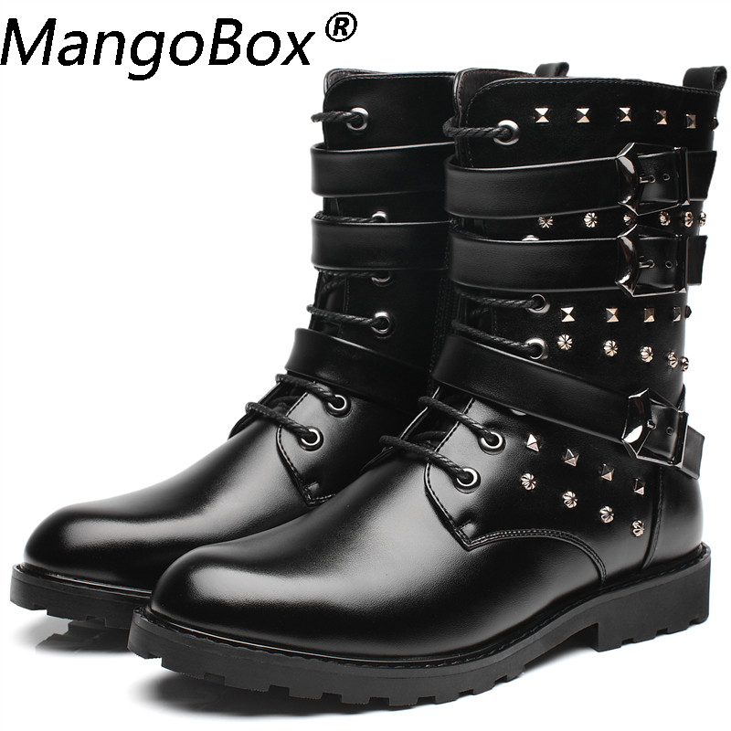 d5f5023cdc8 Spring/Winter Fur Mens Punk Martin Boots, New Style Fashion Motorcycle  Boots Black Leather Casual Shoes Vintage High Top Buckle