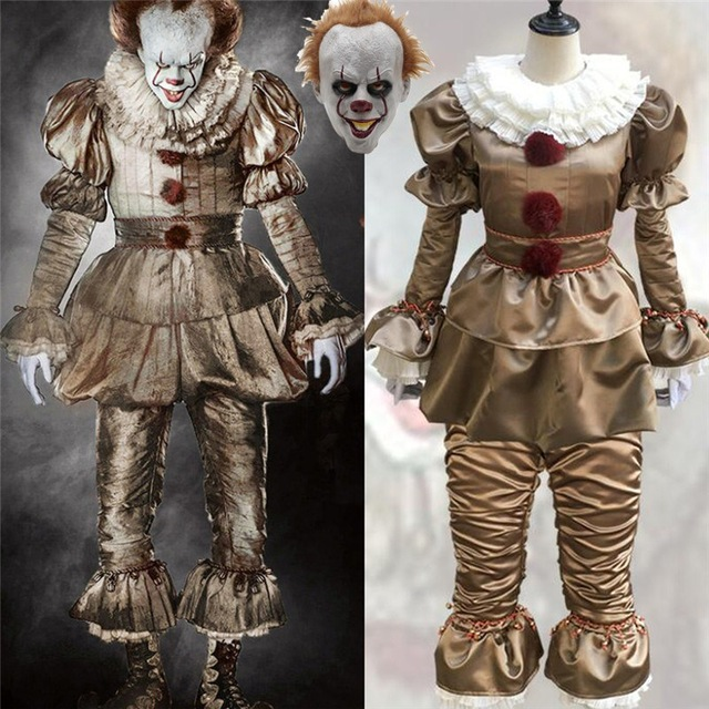 Image 2 - Stephen King's It Pennywise Cosplay Costumes Scary Joker Suit Fancy Separated mask Halloween Party Adult Men Women Clown Masks-in Anime Costumes from Novelty & Special Use