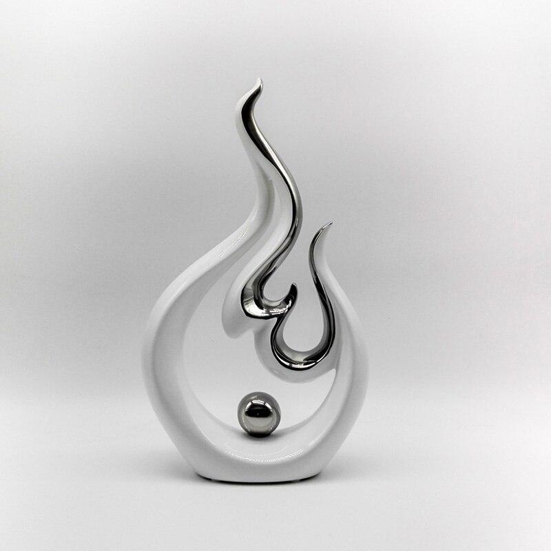 Moderne sculpture décorative Arts Plaqué Porcelaine sculpture abstraite Table Ornements Blanc Céramique pour décoration d'intérieur